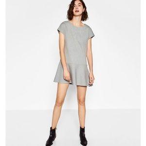 Zara gray drop waist shift mini dress